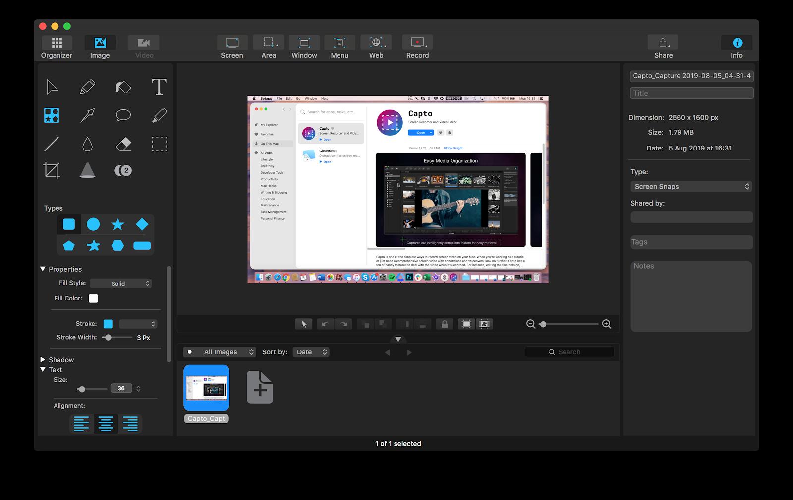 Capto app for screenshot and screen records editing