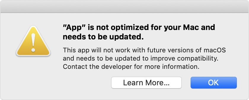 App not working error on macOS Catalina