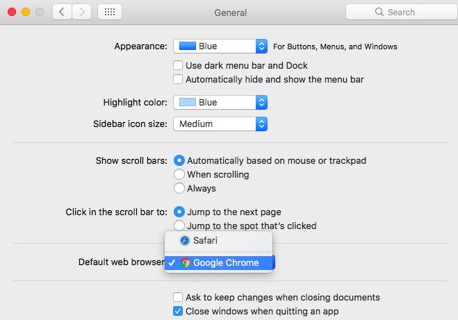 change browser chrome google on mac
