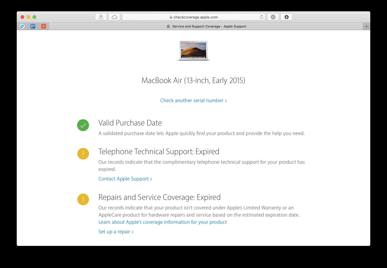 check coverage warranty Apple Mac