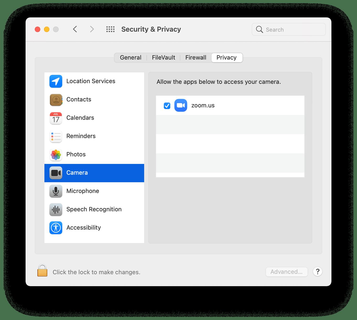 Check permissions camera mac