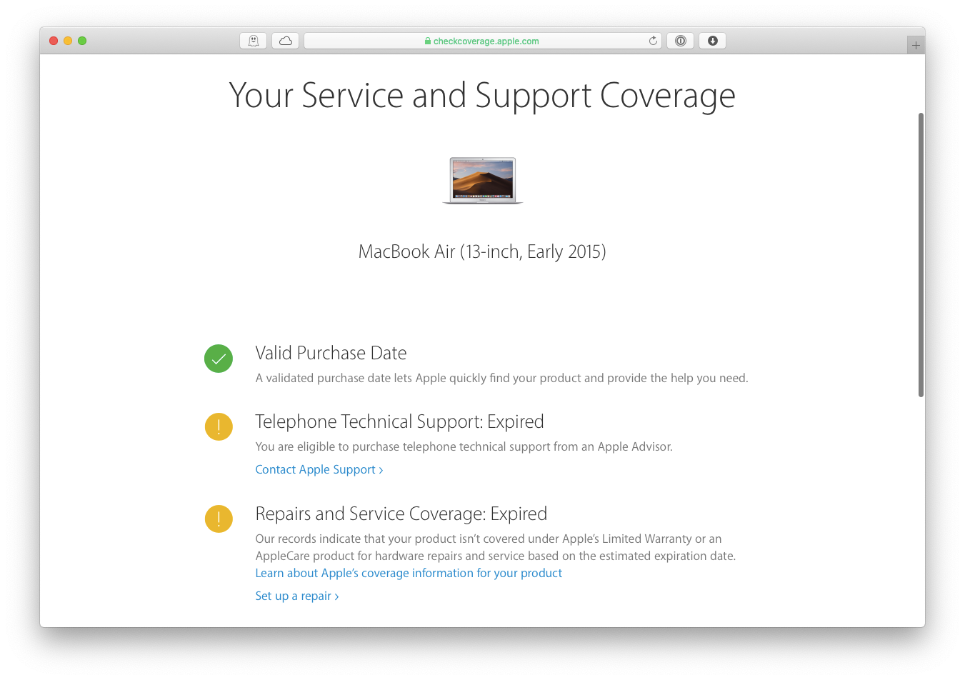 check service coverage Apple Mac