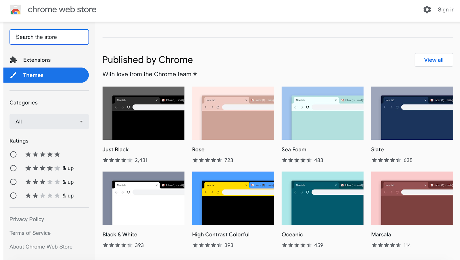 Chrome Dark Mode settings
