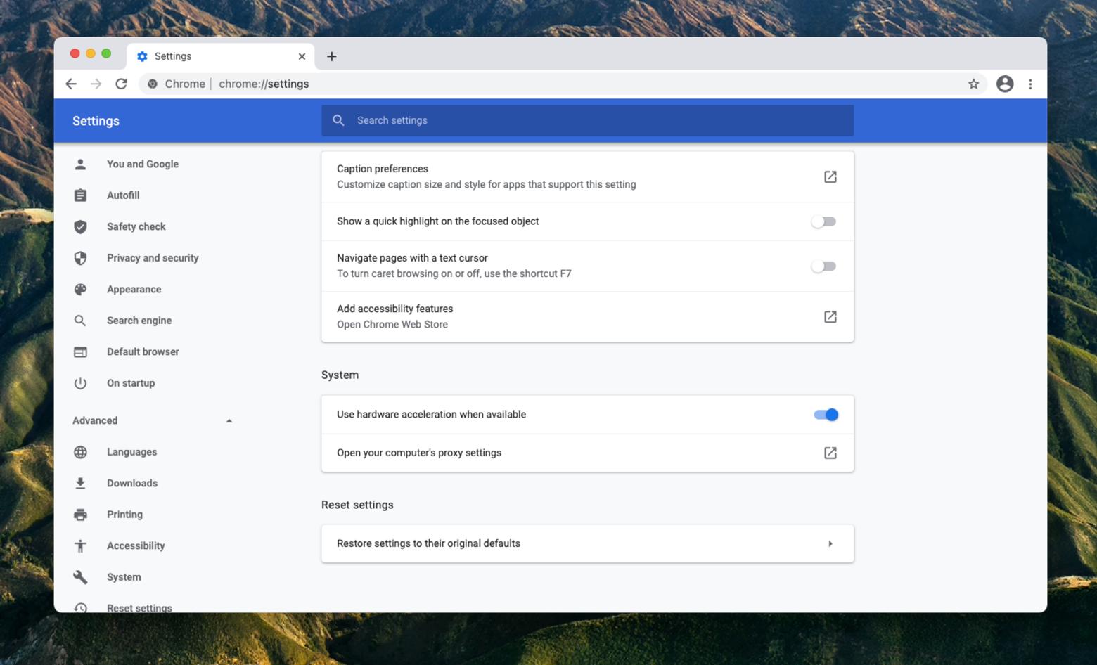 Google Chrome hardware acceleration