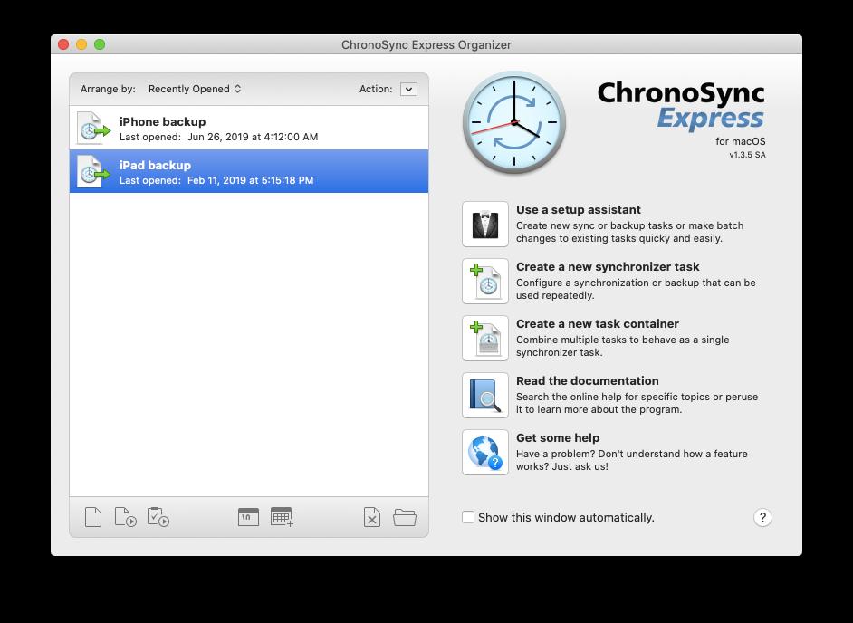 ChronoSync Express sync backup Mac iPhone iPad