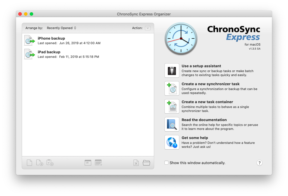 iPhone and iPad backups in Chronosync Express app