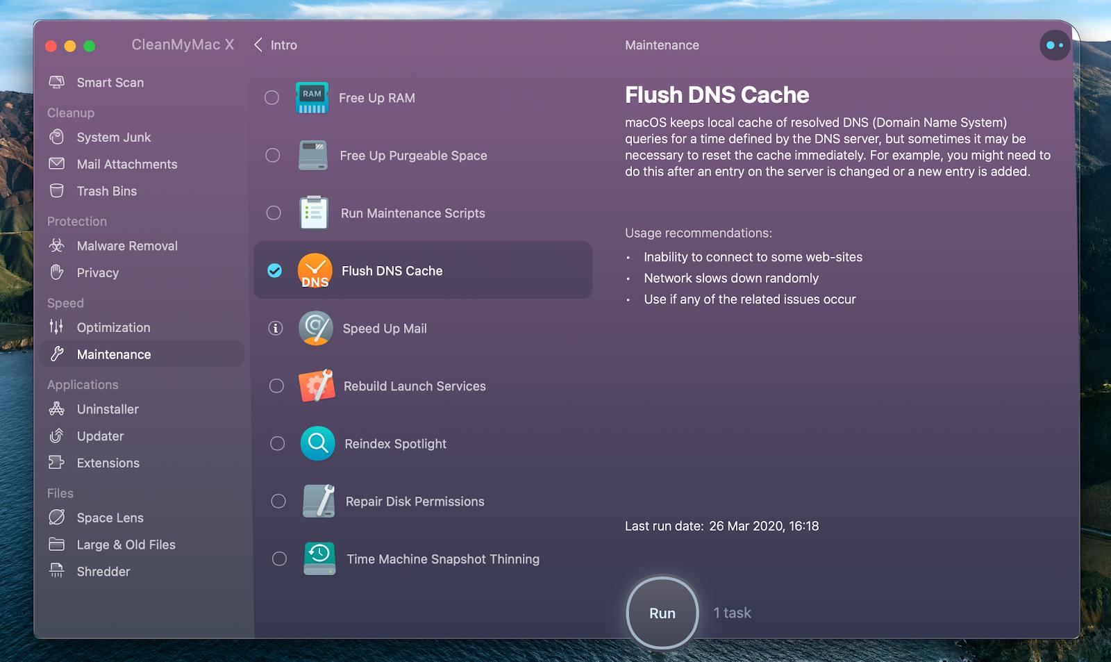 CleanMyMac X flush DNS