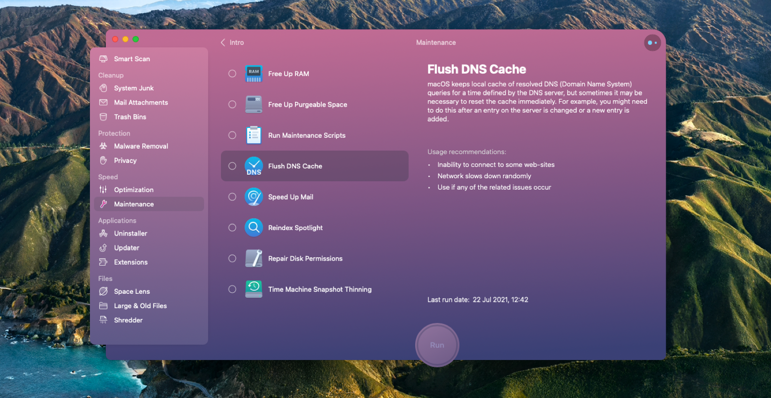 CleanMyMac X Mac app clear dns cache Mac