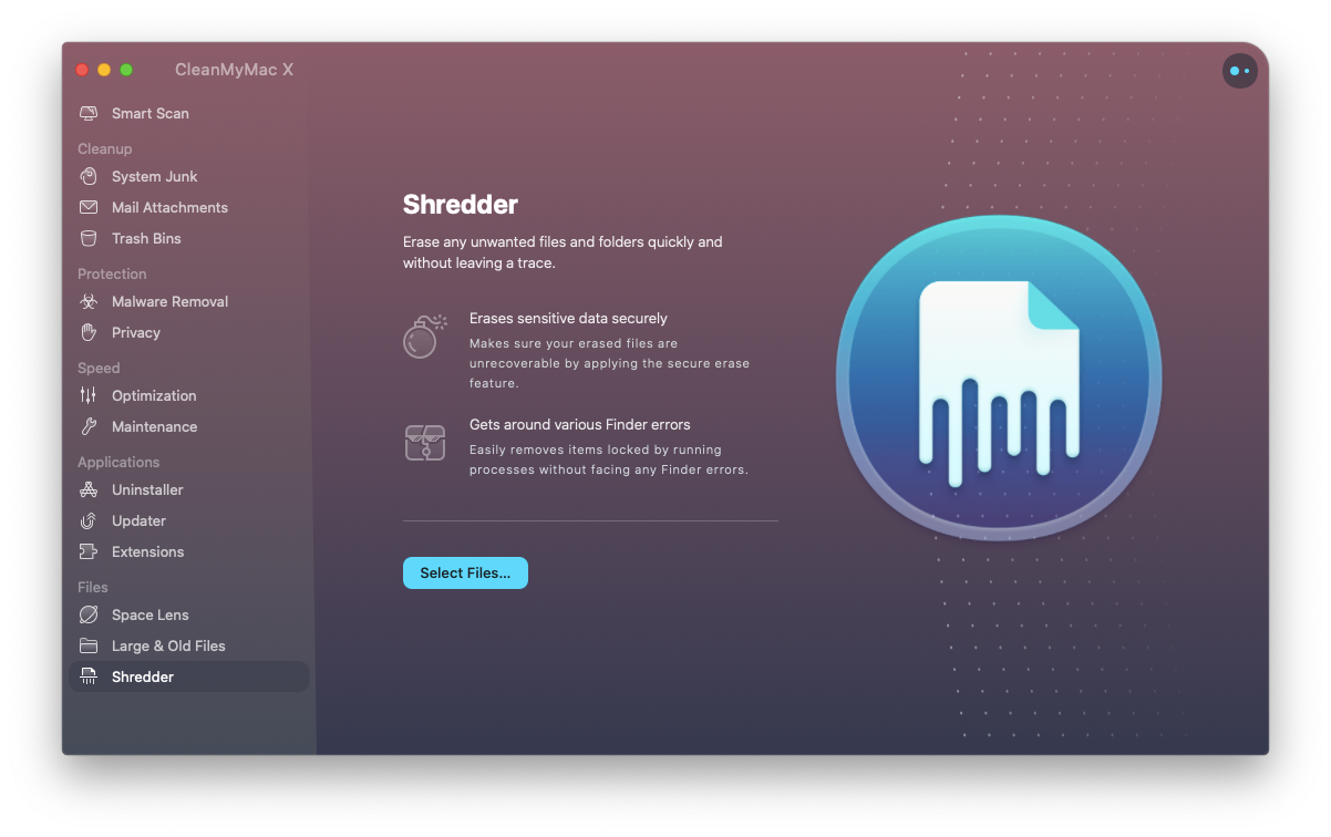 CleanMyMac X optimization app Mac shredder