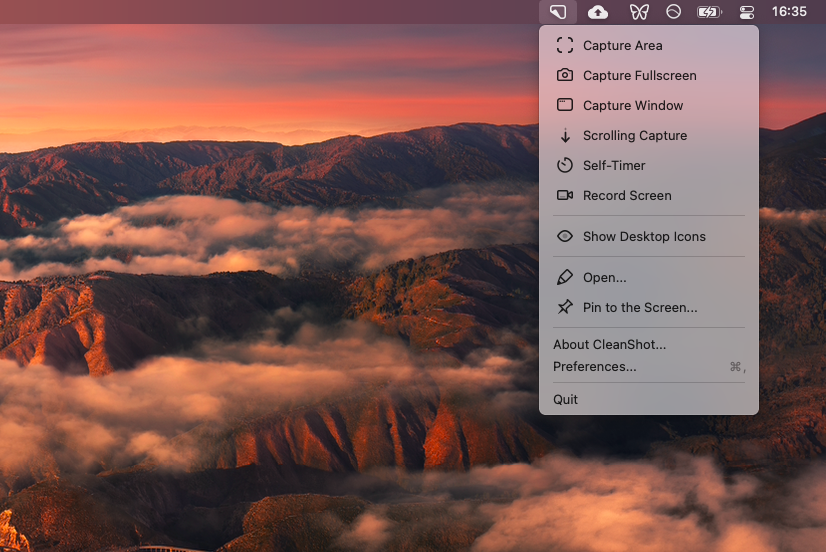 Hide and show desktop icons with CleanShot X app