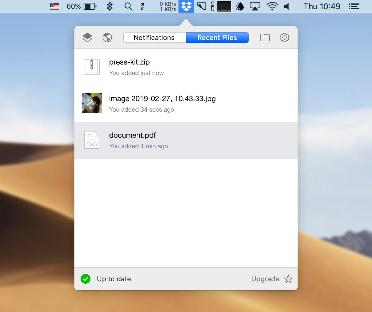Dropbox desktop app