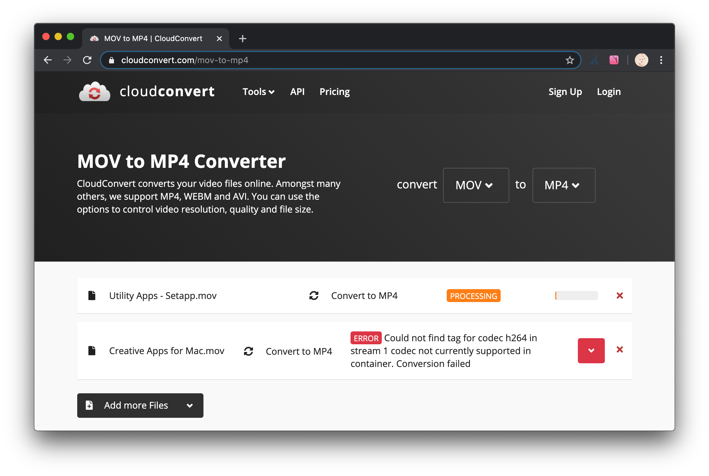 Online converting issue