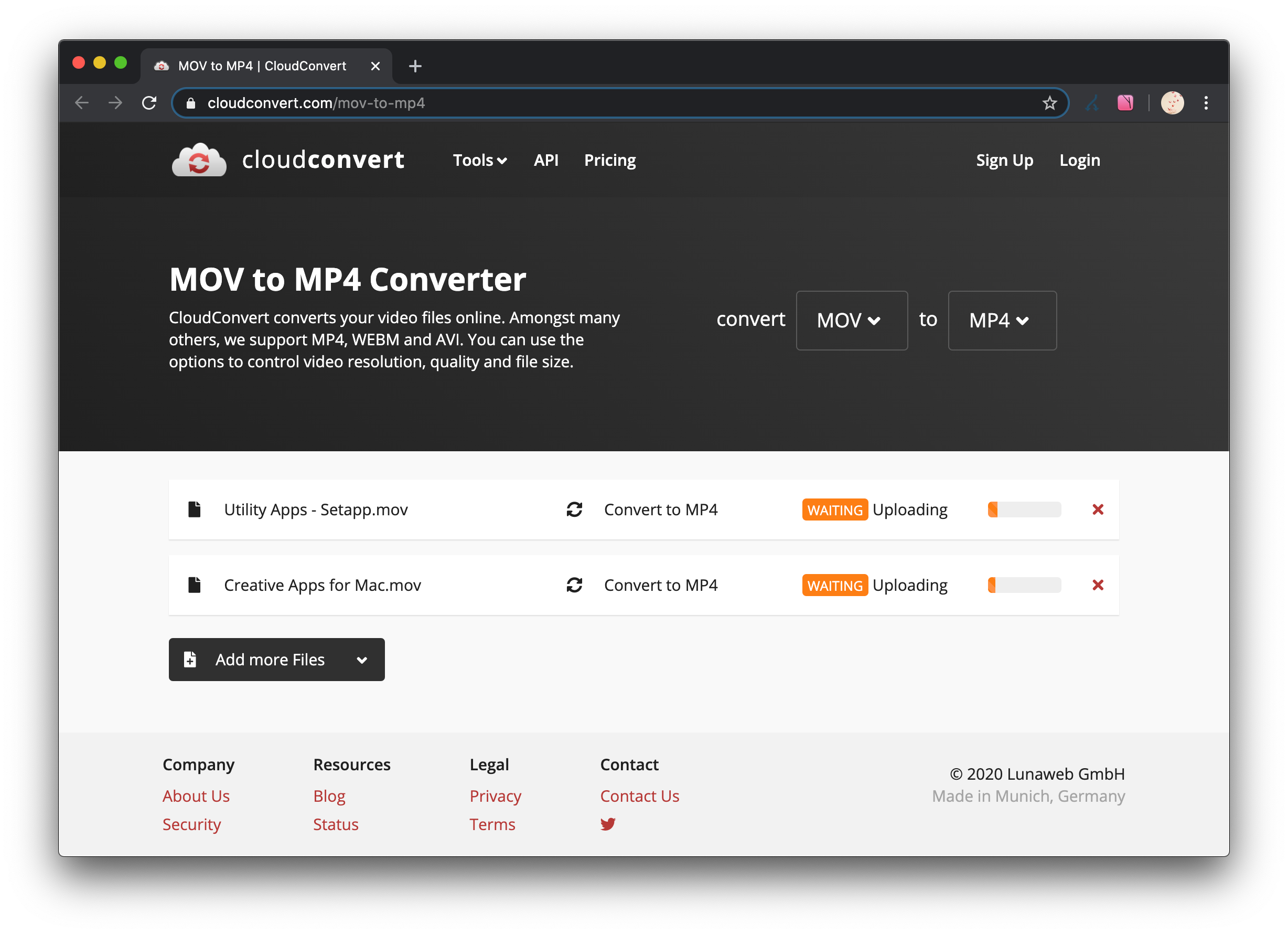 cloudconvert online converter mov to mp4