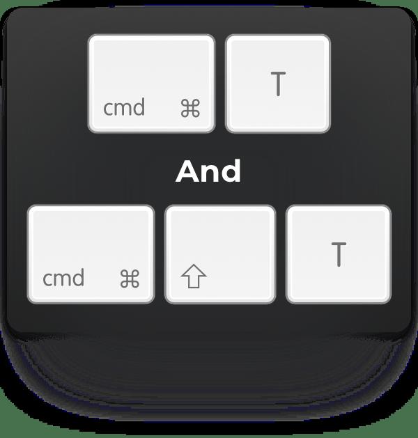 cmd-t and cmd-shift-t