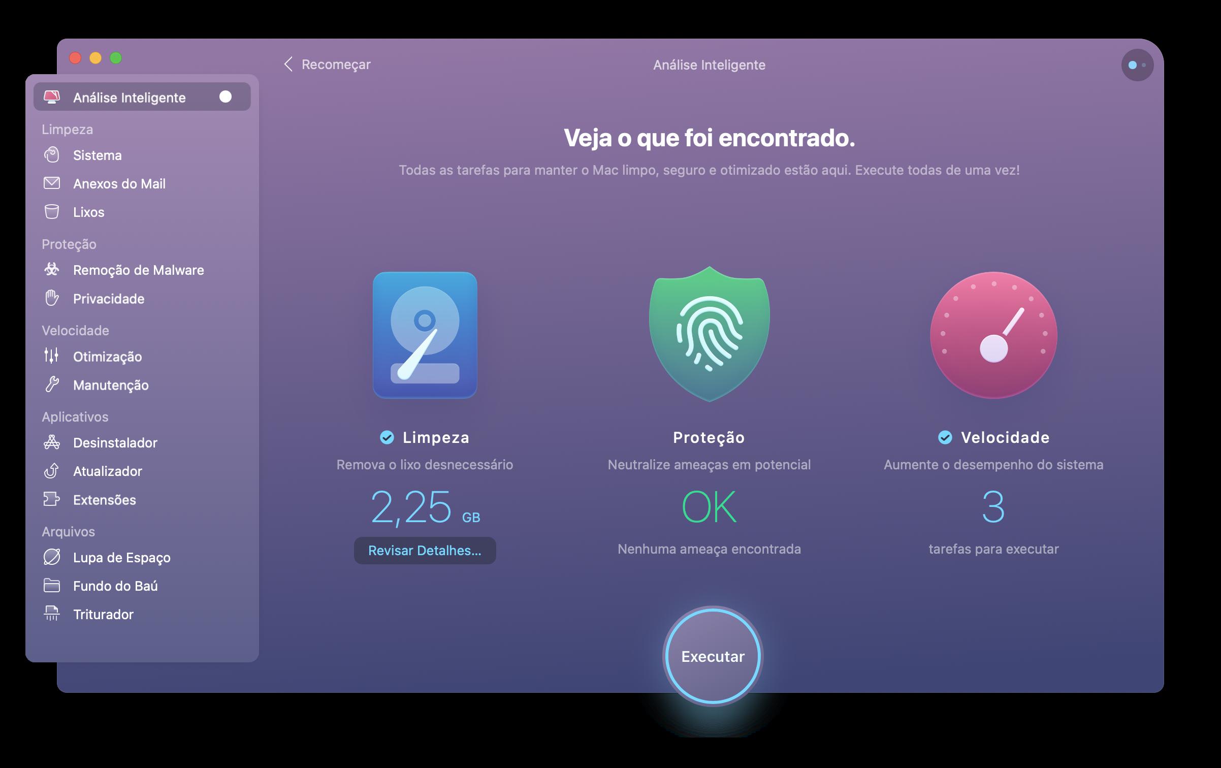 App CleanMyMac X analisando