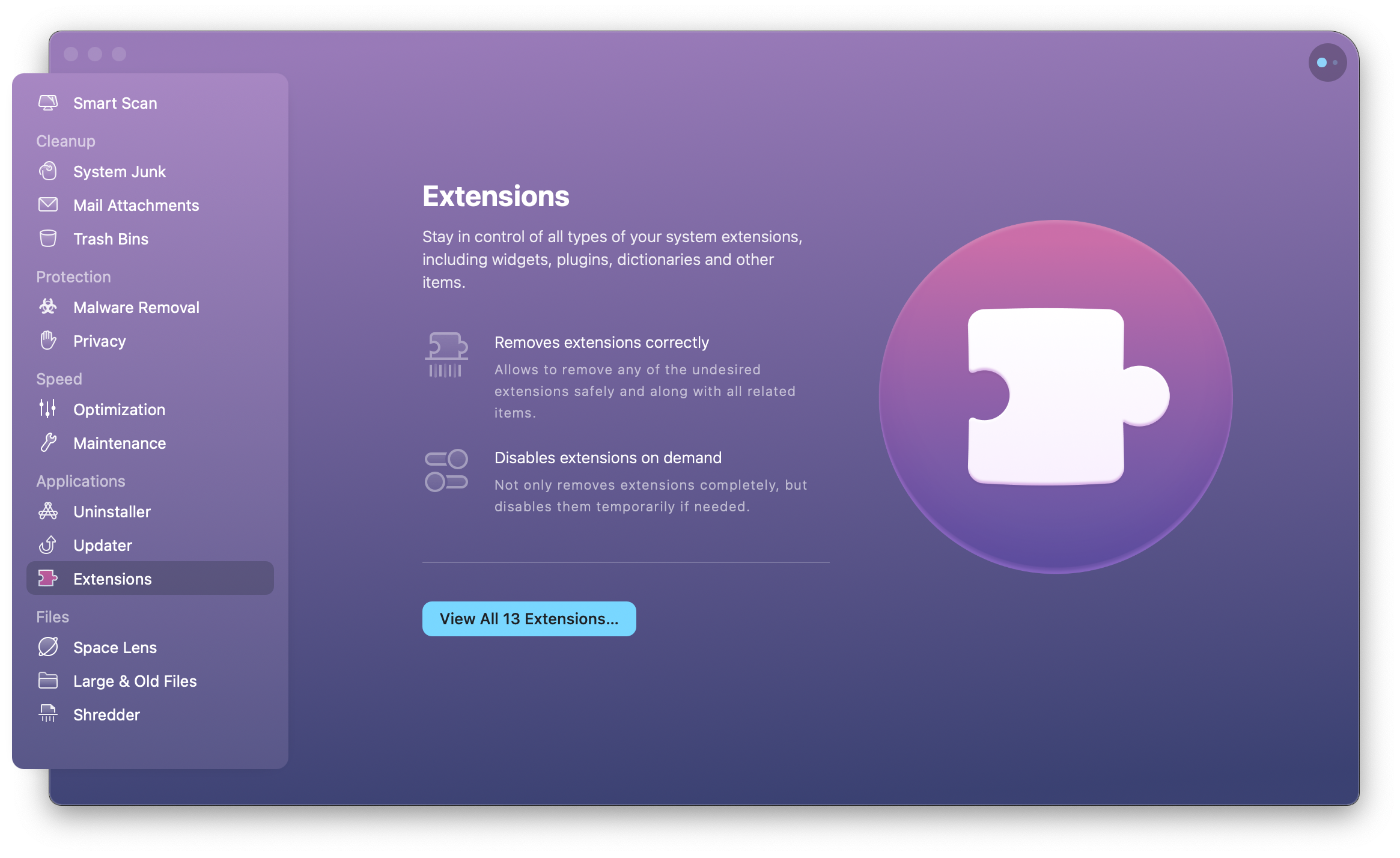 CleanMyMac X Extensions module