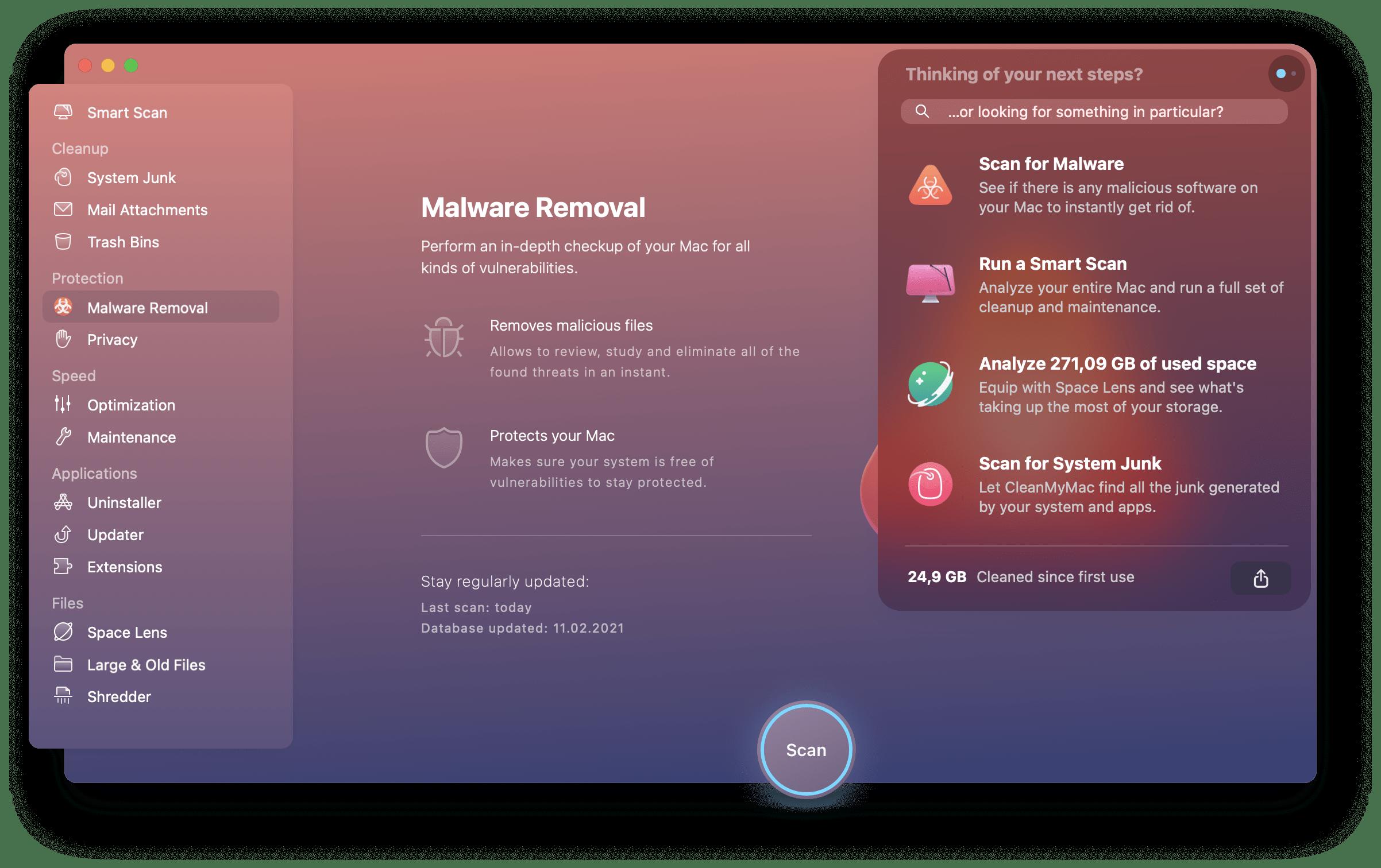 CleanMyMac X Mac optimization scan malware