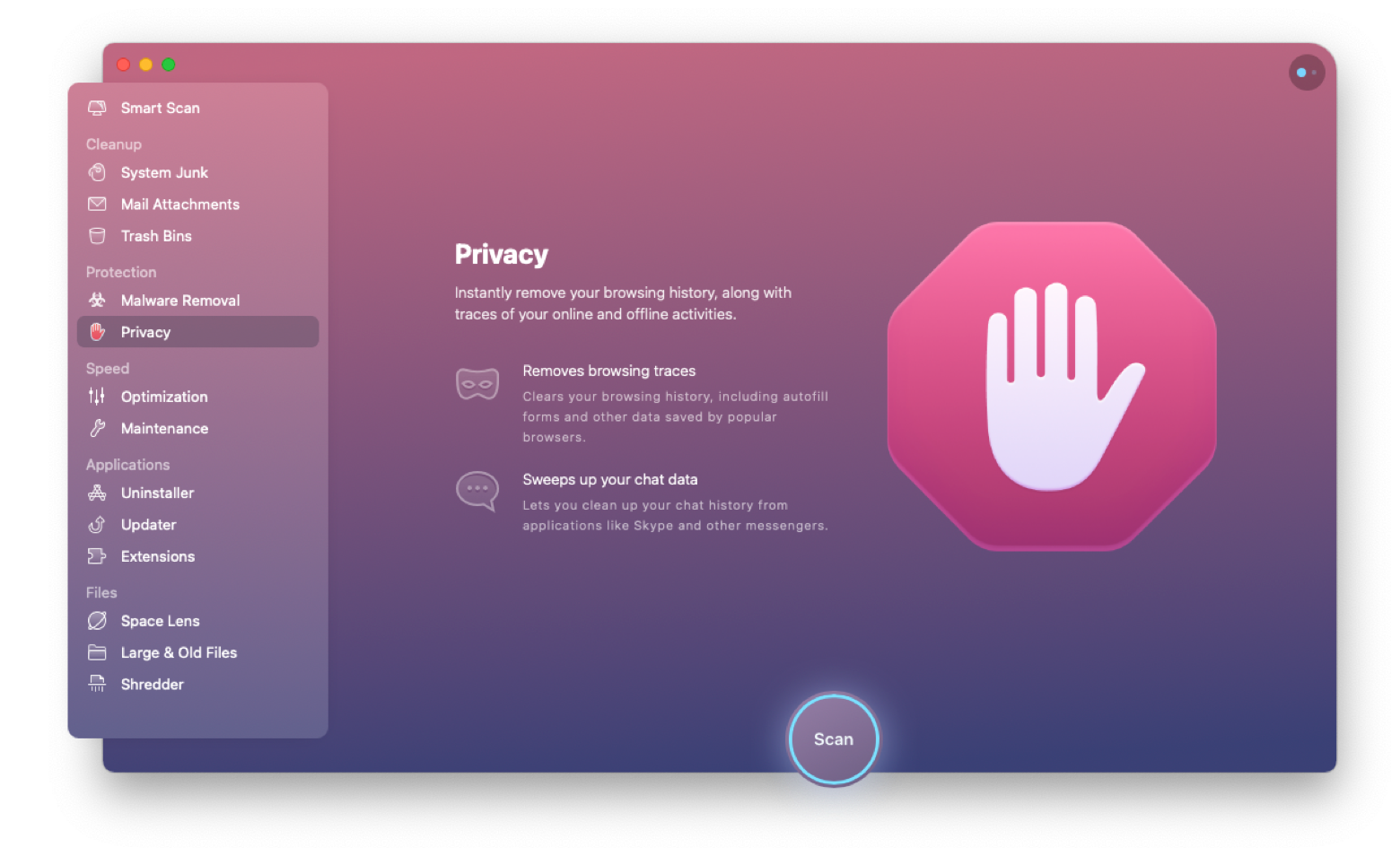 CleanMyMac X Privacy module