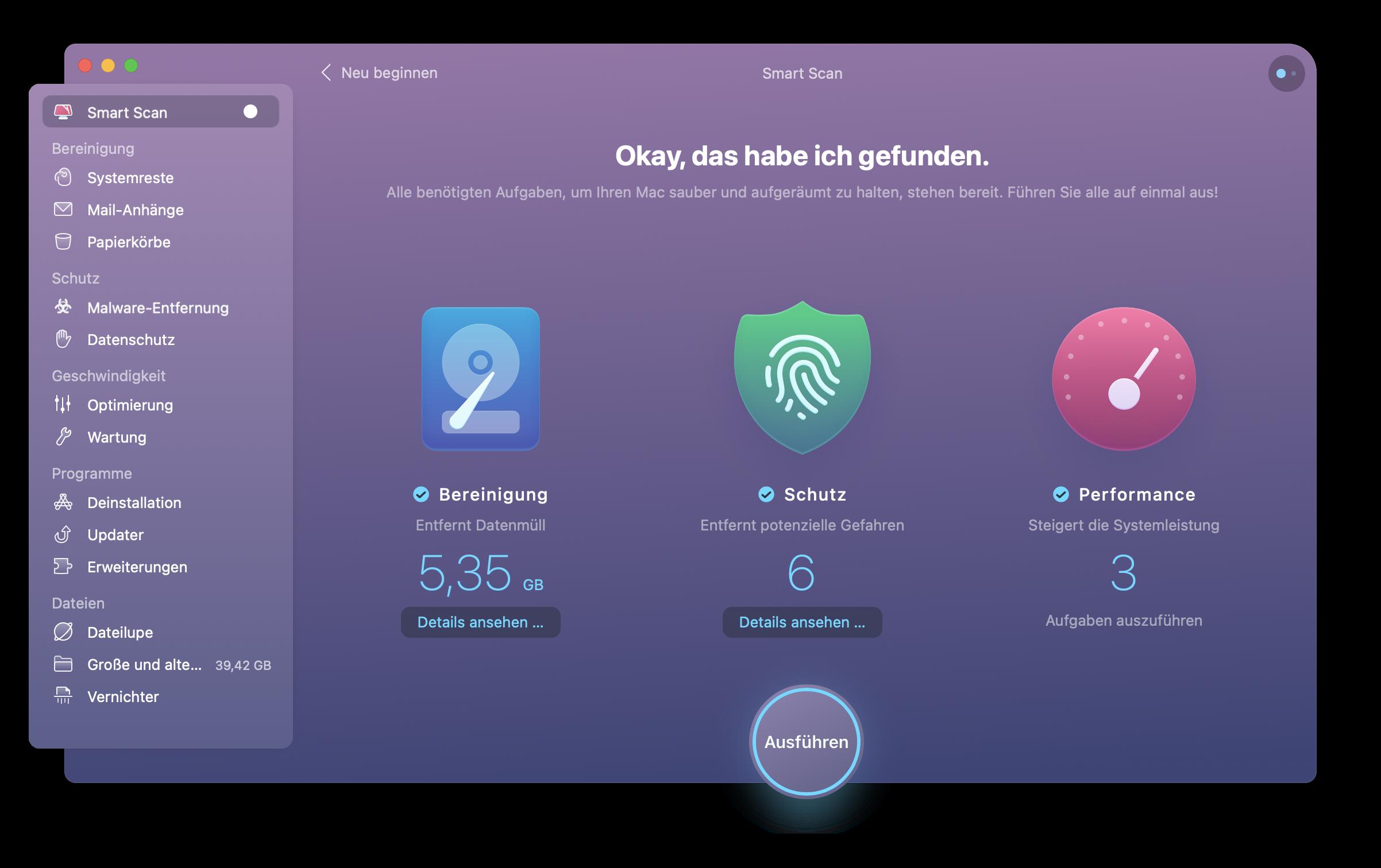 Speicherplatz freigeben auf Mac mit CleanMyMac X
