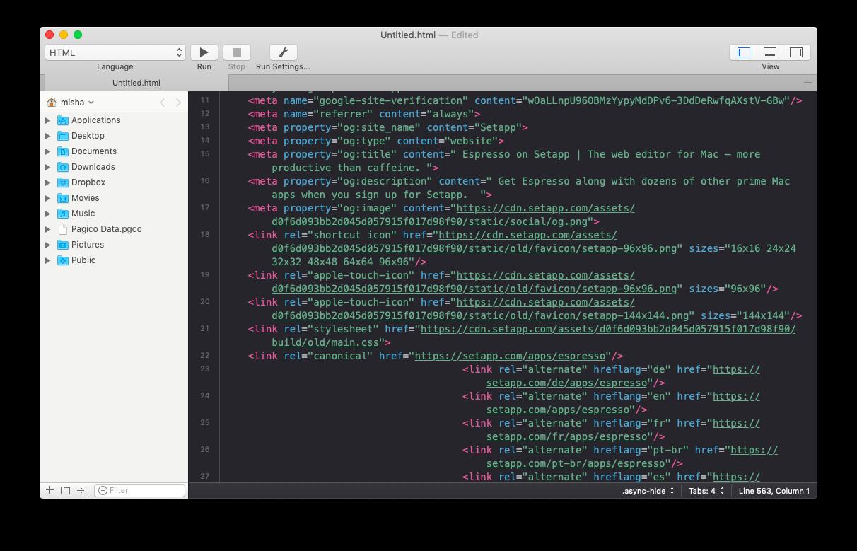 CodeRunner editor code development