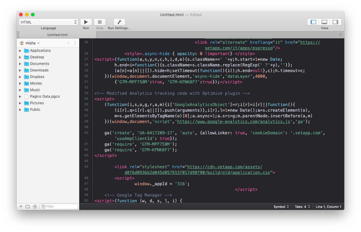 Coderunner text editor for Mac