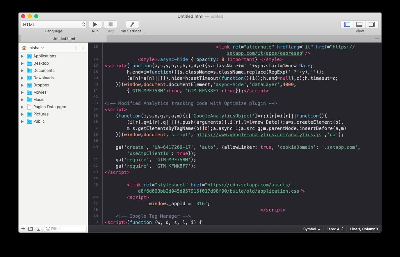 Coderunner text editor for Mac