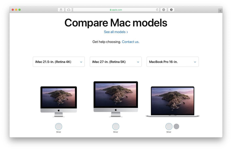 compare MacBook models iMac Apple