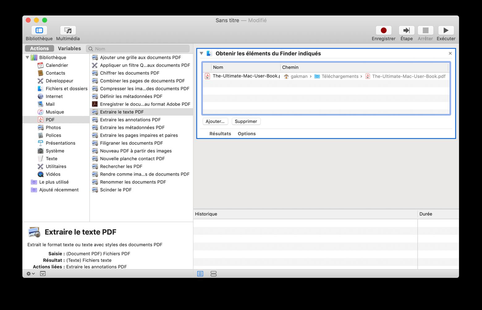 Convertir à partir d'un fichier PDF avec Automator
