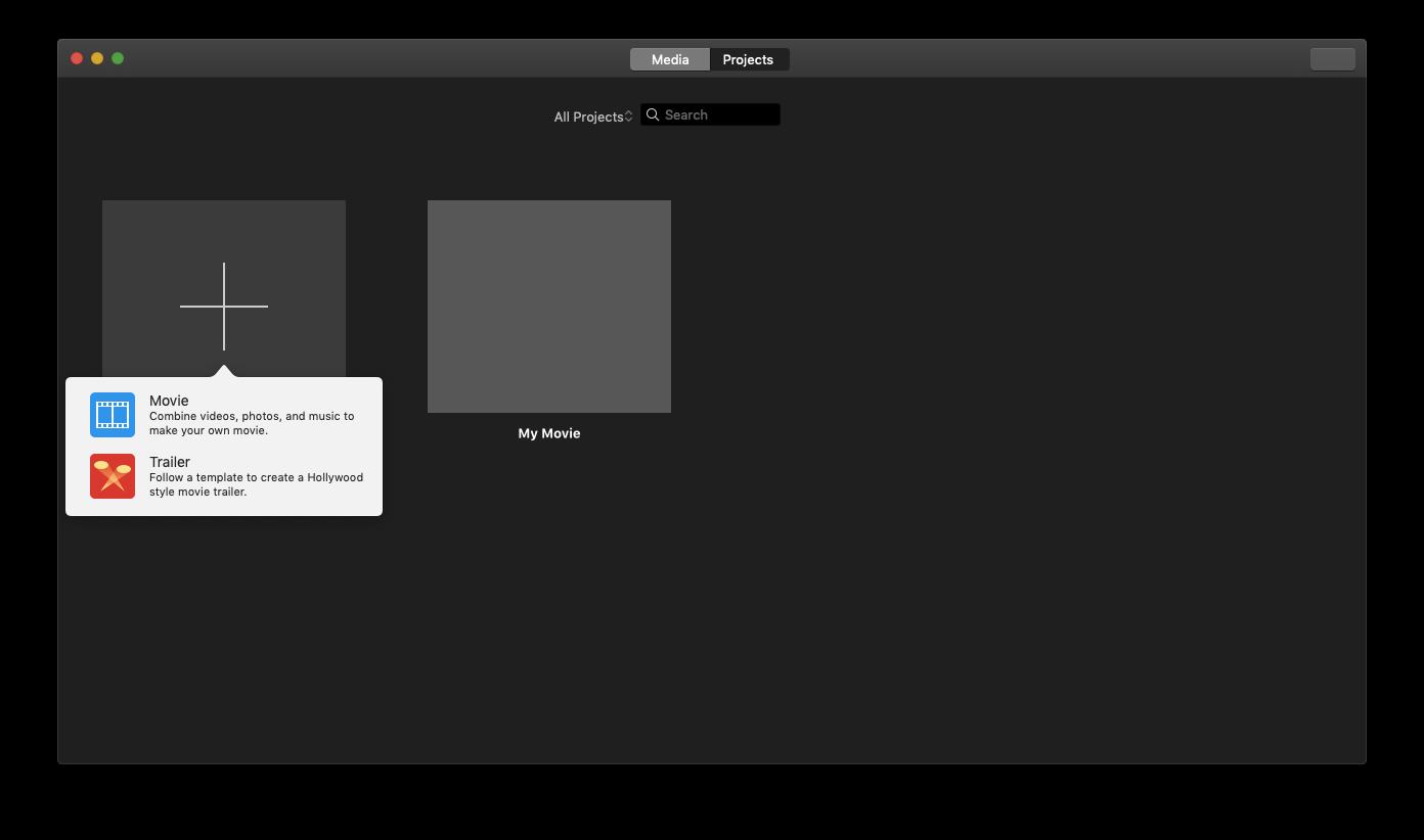 create new project iMovie