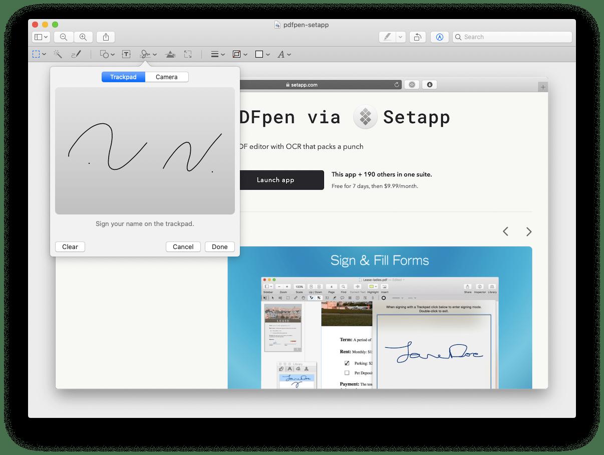 create signature preview PDF Mac