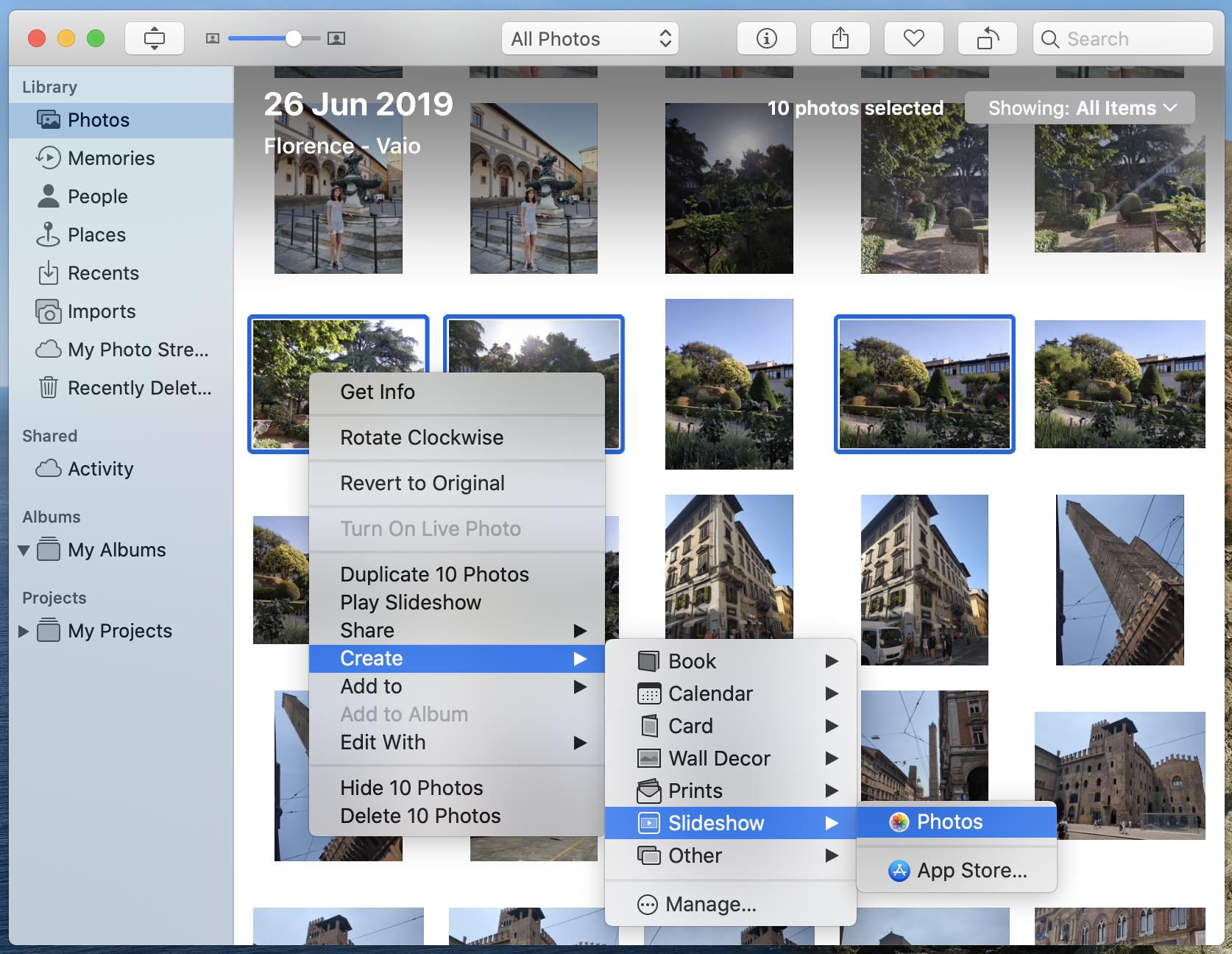 Make a slideshow with Photos app