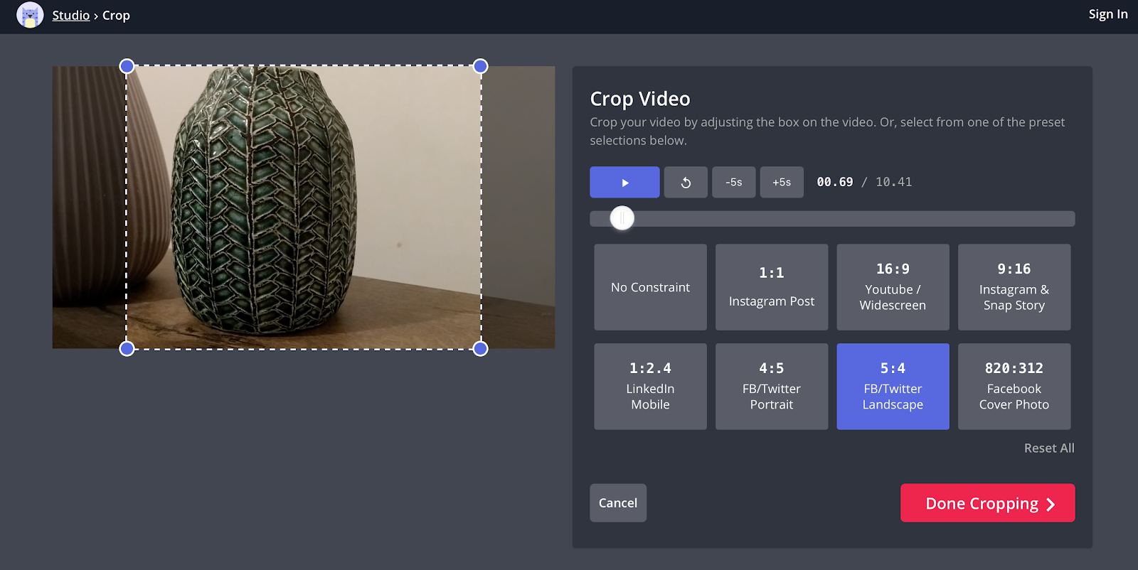 Kapwing online video crop tool