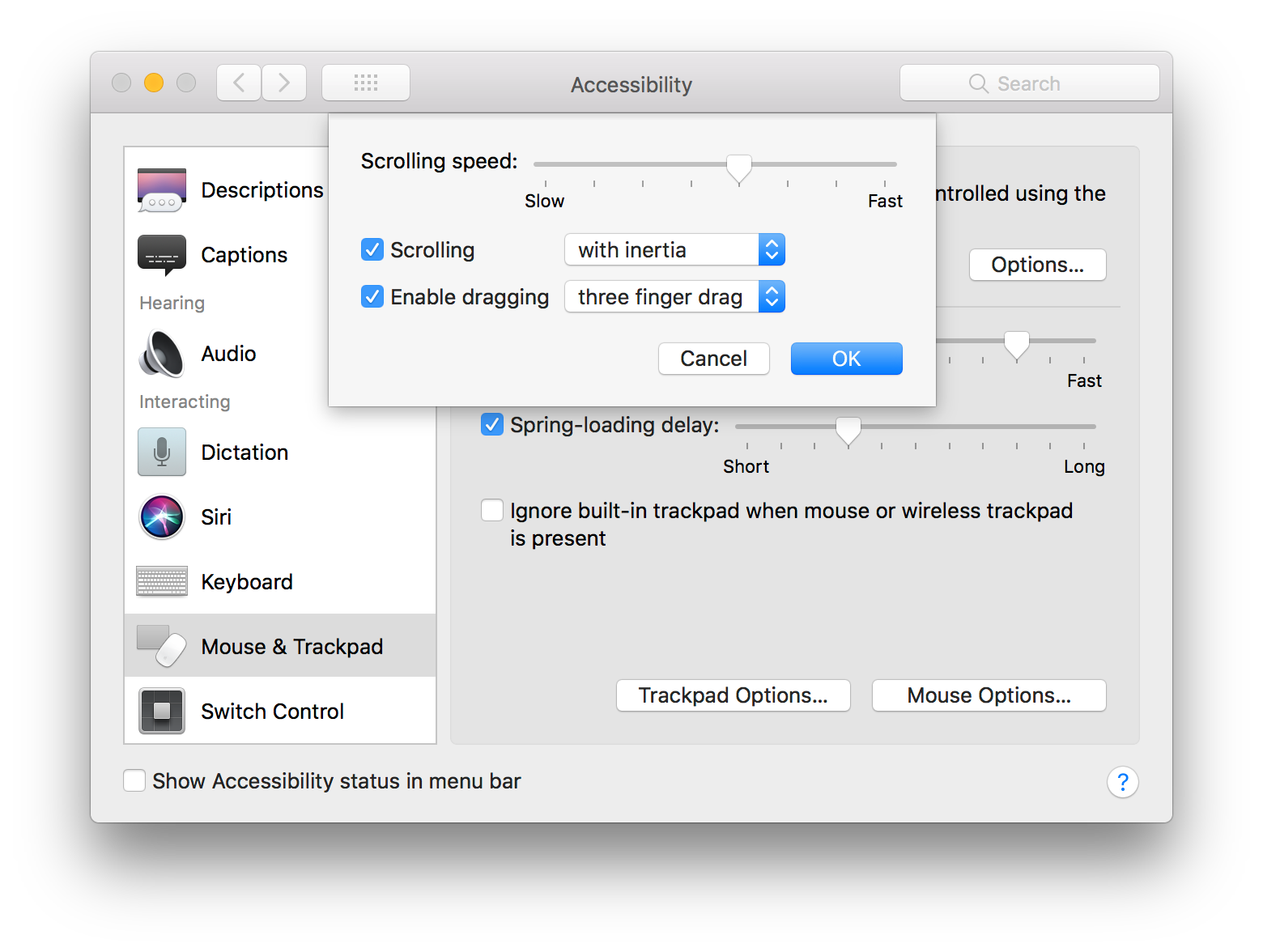 trackpad options in Accessibility