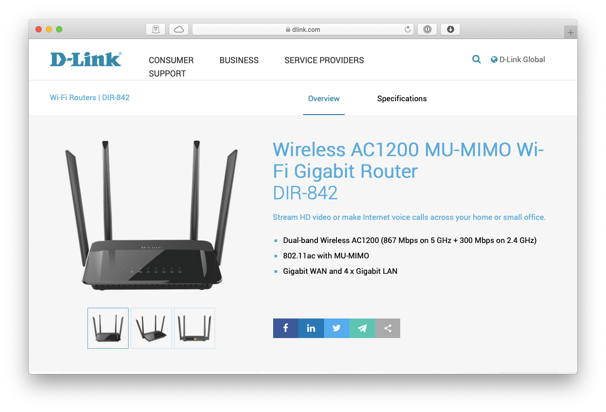 D-Link wireless ac1200 DIR-842 router Mac