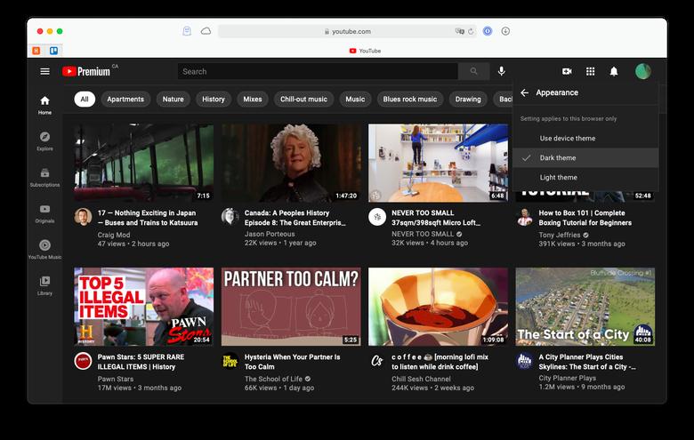 turn on dark theme in YouTube
