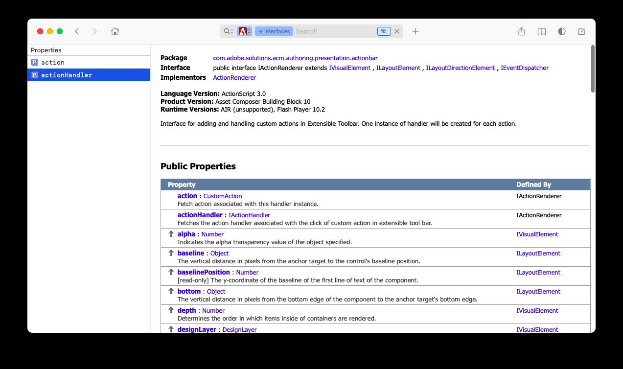 an API documentation browser