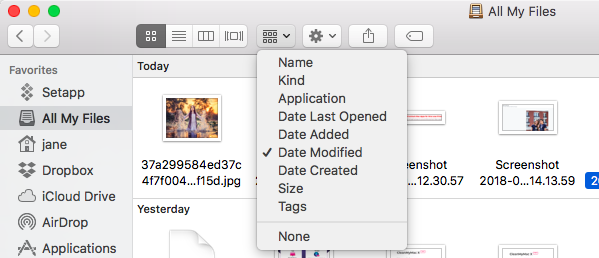 Sorting by date in Finder
