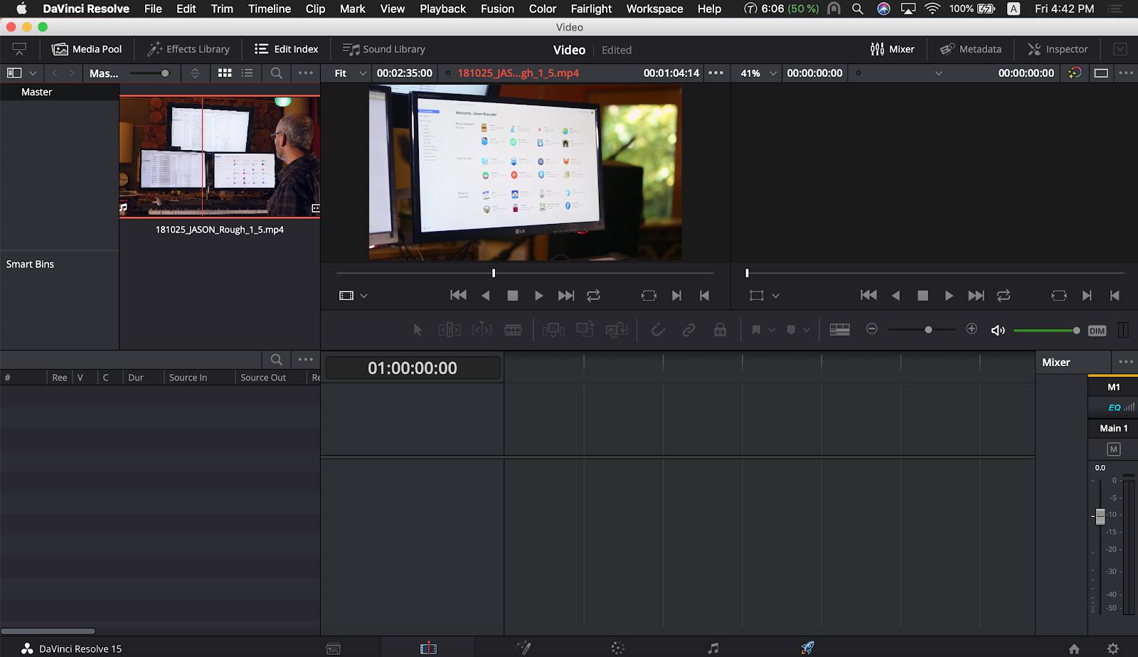 DaVinci video editing