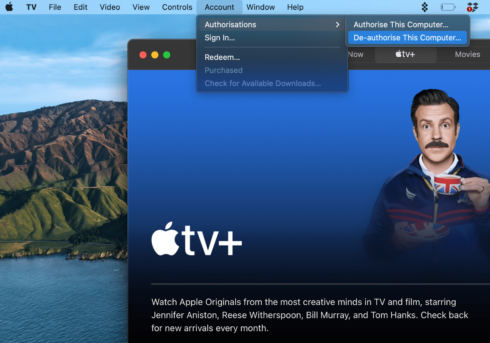 deauthorize Apple TV, Music, or Podcasts
