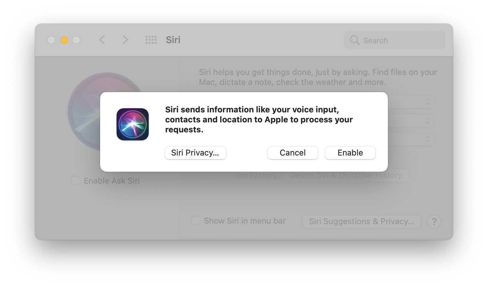 Disable Siri with System Preferences