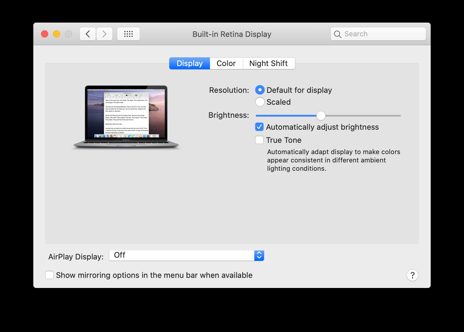 disable true tone mac retina