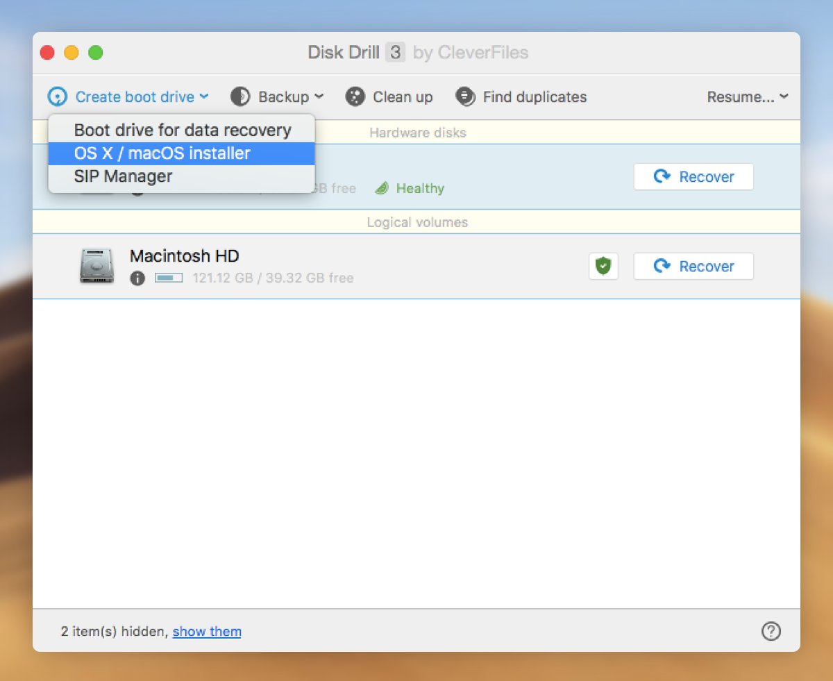 bootable drive with OS X Diskdrill
