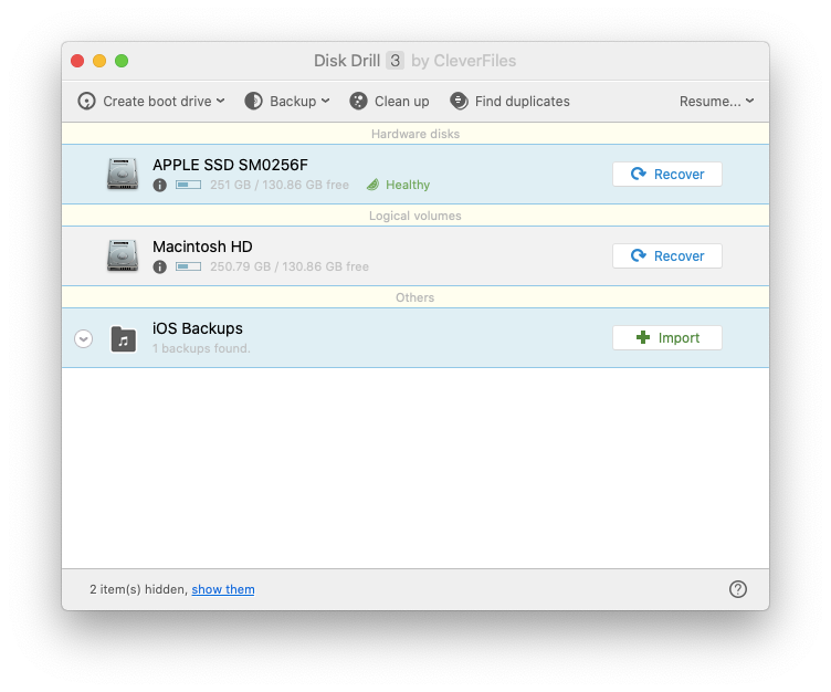 Disk Drill recovery app Mac