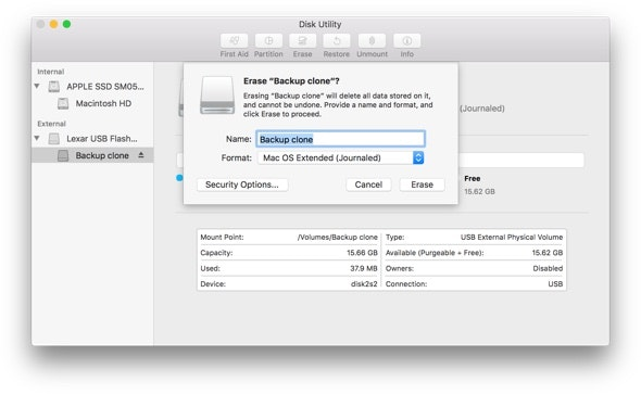 disk utility backup