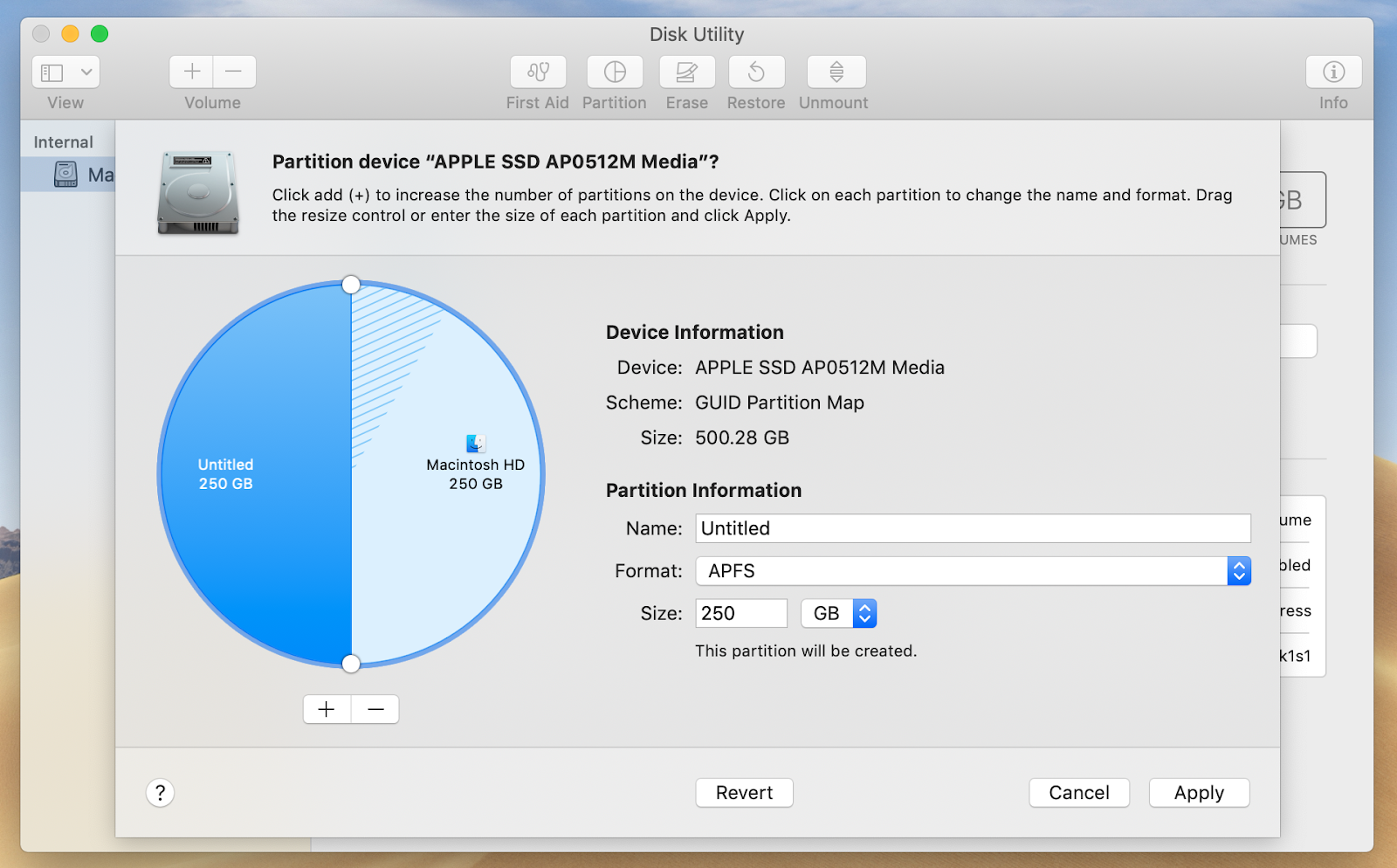 Disk Utility: Partition information