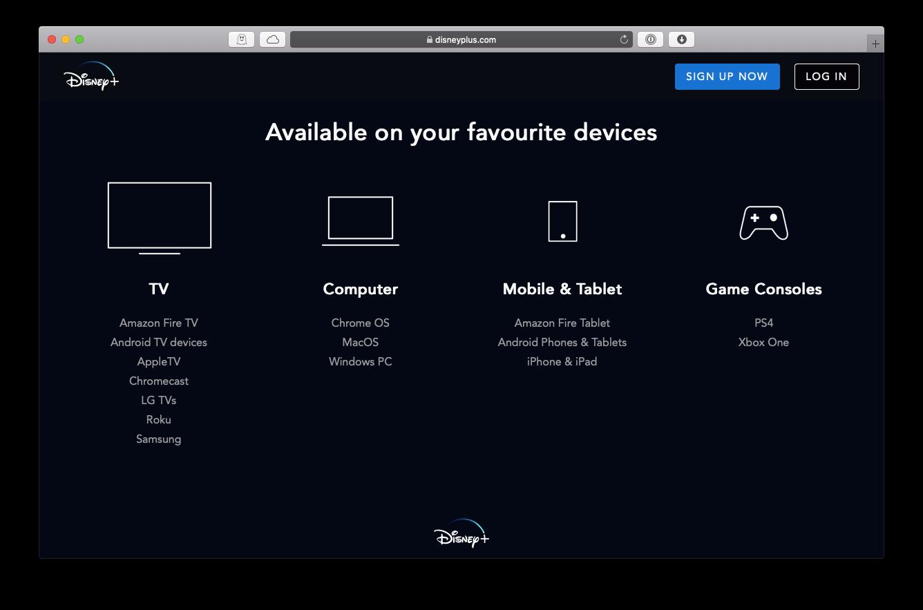 Disney Plus available devices Mac