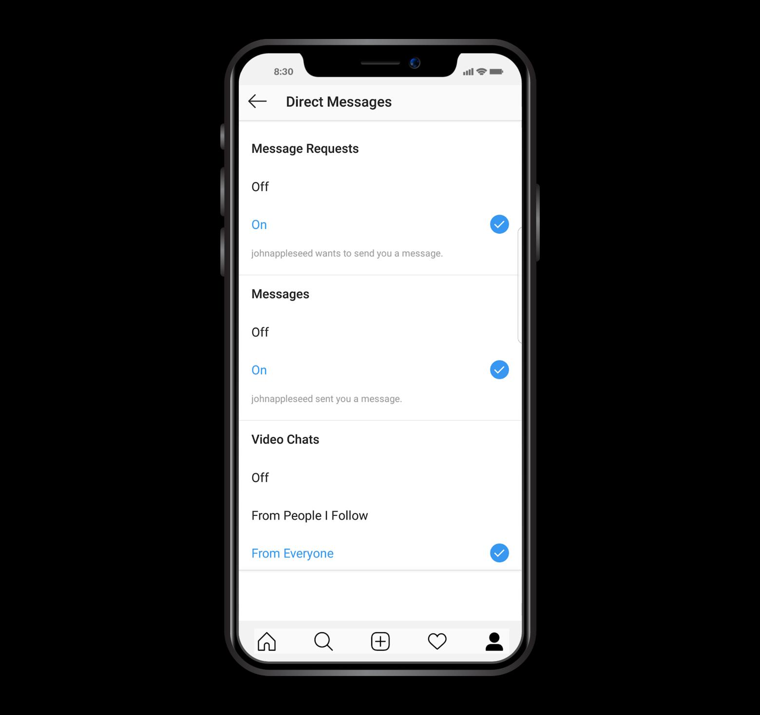 Enable Instagram notifications on iPhone