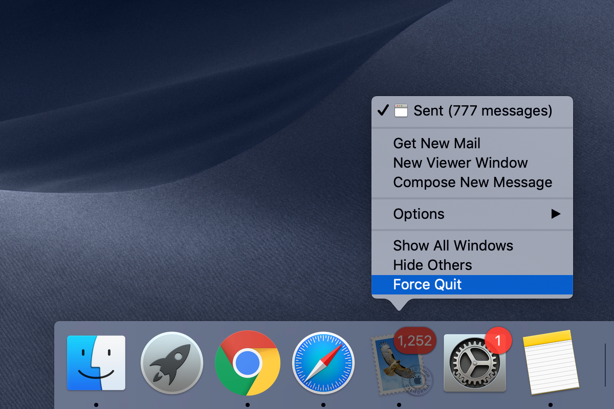 Right-click on the Dock icon of the app to Force Quit it