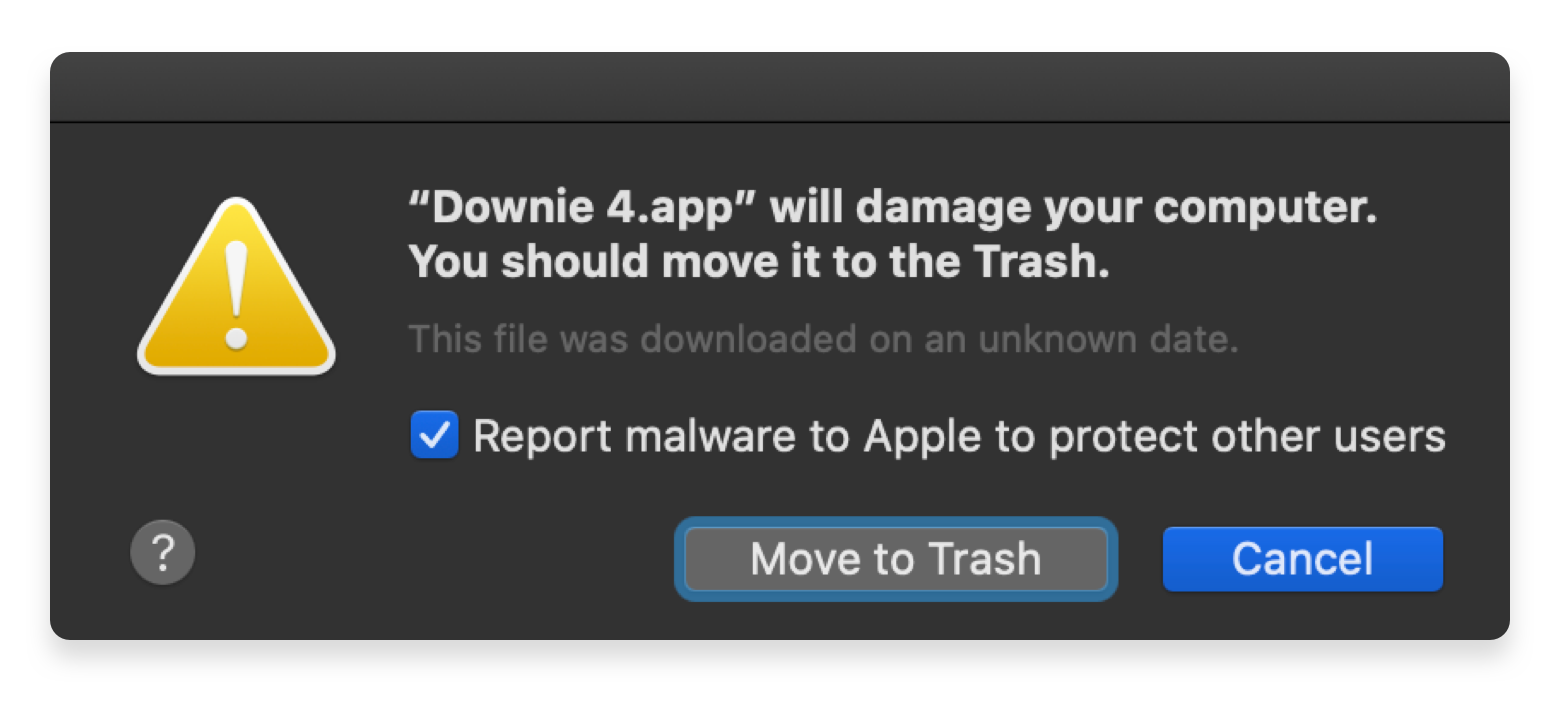 Downie flagged as malware macOS