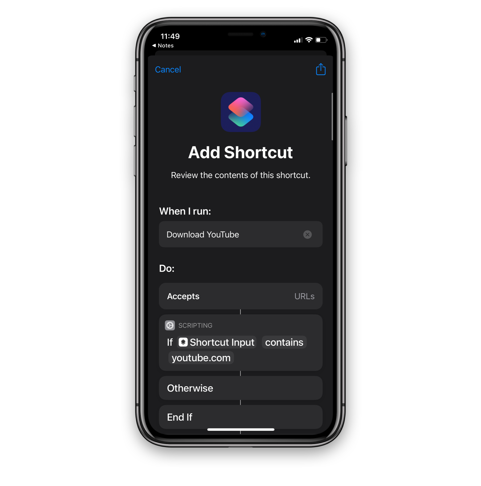 download from Youtube with iPhone's Stortcuts